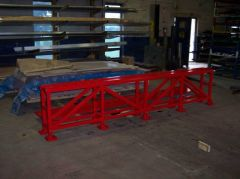 Custom fabricated red steel guard rails.