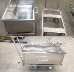 Stainless steel food grade food bin and cart built for a local bakery
