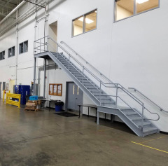 Custom galvanized steel staircase for a local business
