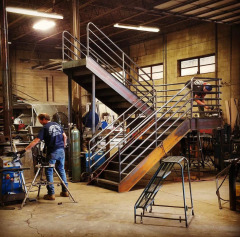 Galvanized steel staircase during the fabrication process